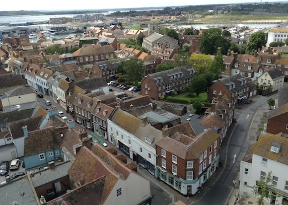 Aerial view of The Old Town, Poole.